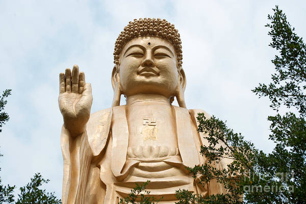 Photograph - Buddha Statue Under Blue Sky by Yew Kwang