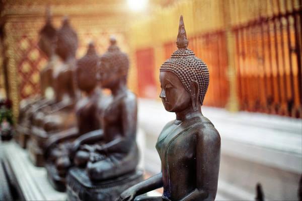Statue Photograph - Buddha Statues In Wat Phra That Doi by Shan.shihan