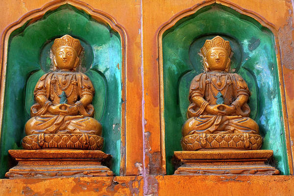 Forbidden City Photograph - Buddha Statues Summer Palace Wall by William Perry