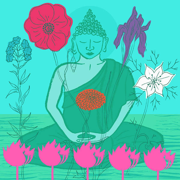 Wall Art - Photograph - Buddha Surrounded By Flowers by Ikon Ikon Images