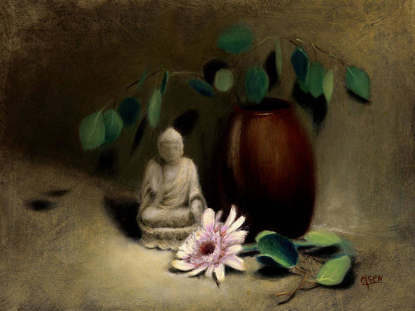 Wall Art - Painting - Buddha Under The Bodhi Tree. by Christy Olsen