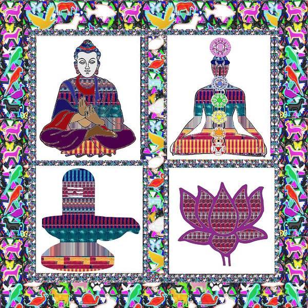 Wall Art - Painting - Buddha Yoga Chakra Lotus Shivalinga Meditation Navin Joshi Rights Managed Images Graphic Design Is A by Navin Joshi