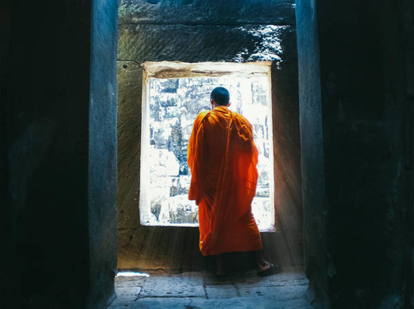 Buddhist Monk In Bayon Temple Angkor Wat Art Print by Leander Nardin