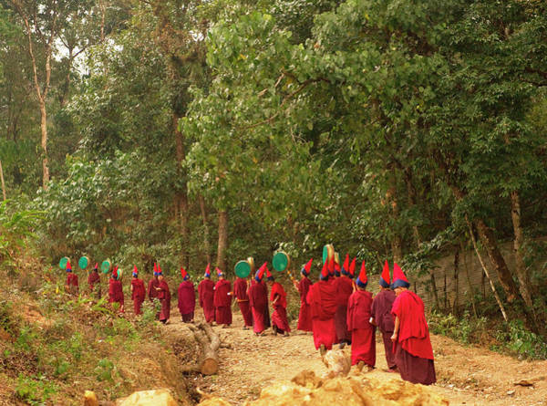 Procession Photograph - Buddhist Monks In A Losar Ceremonial by Jaina Mishra