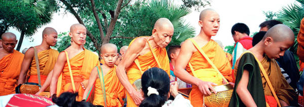 Laos Photograph - Buddhist Monks Luang Prabang Laos by Panoramic Images