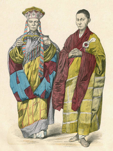 Vietnam Drawing - Buddhist Priests Of Annam (now Vietnam) by Mary Evans Picture Library