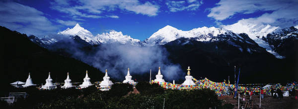 Buddhist Stupas And Prayer Flags With Art Print