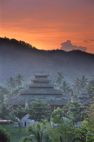 Wall Art - Photograph - Buddhist Temple At Sunset by Richard Berry
