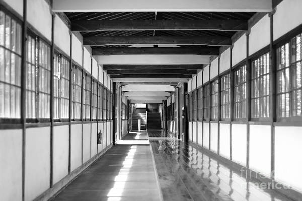 Buddhist Temple In Black And White - Passageway Art Print