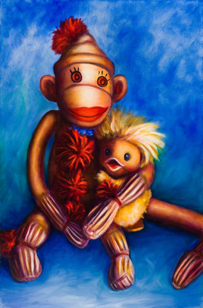 Sock Monkey Painting - Buddies by Shannon Grissom