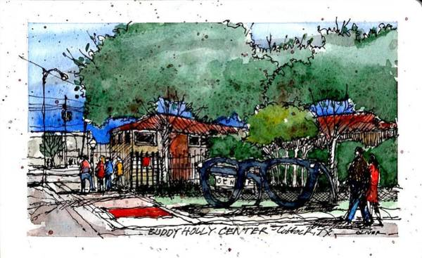 Pen And Ink Mixed Media - Buddy Holly Center by Tim Oliver