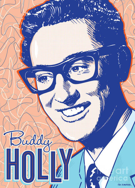 50s Wall Art - Digital Art - Buddy Holly Pop Art by Jim Zahniser