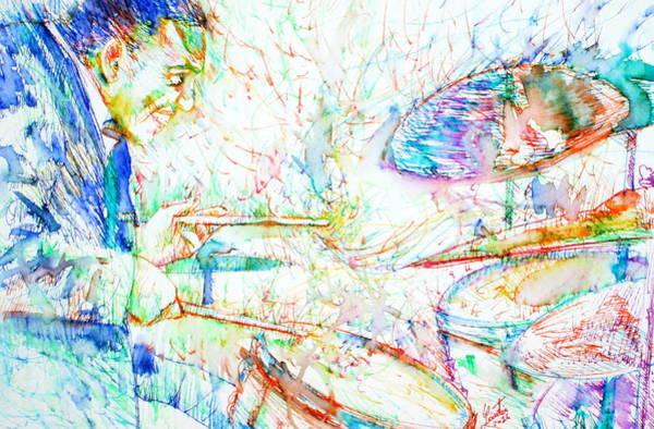 Live Music Painting - Buddy Rich Playing by Fabrizio Cassetta