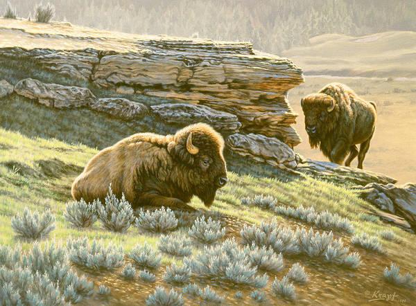 Yellowstone Wall Art - Painting - 'buffalo At Soda Butte' by Paul Krapf