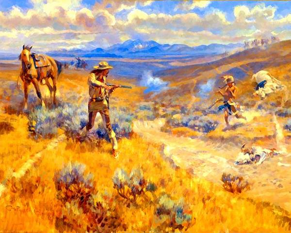 Digital Art - Buffalo Bills Duel With Yellowhand by Charles Russell
