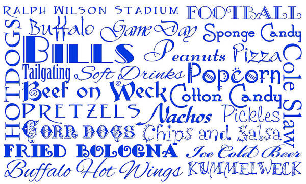 Digital Art - Buffalo Bills Game Day Food 1 by Andee Design