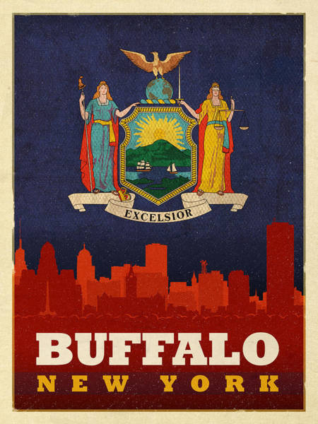 Buffalo Mixed Media - Buffalo City Skyline Flag Of New York State Art Poster Series 003 by Design Turnpike