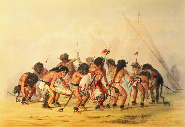 Indian Camp Painting - Buffalo Dance by George Catlin