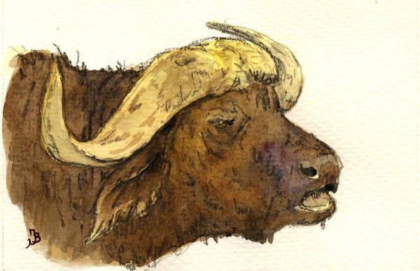 African Wildlife Painting - Buffalo Head by Juan  Bosco