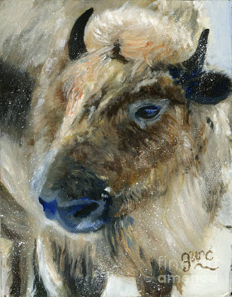 Wall Art - Painting - Buffalo In The Snow by Gloria Condon