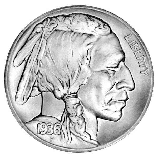Wall Art - Drawing - Buffalo Nickel by Greg Joens