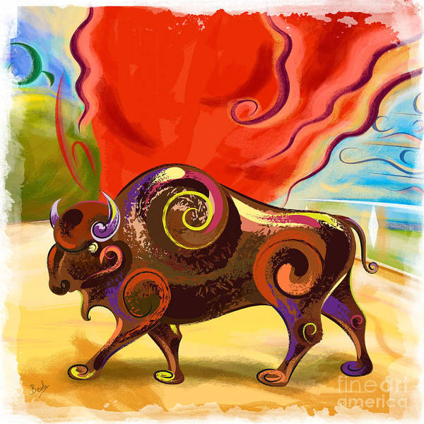 Wall Art - Painting - Buffalo Rage by Peter Awax