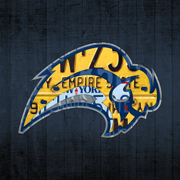 Buffalo Mixed Media - Buffalo Sabres Hockey Team Retro Logo Vintage Recycled New York License Plate Art by Design Turnpike