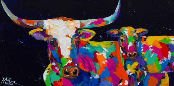 Longhorn Painting - Buffalo's Gals by Tracy Miller