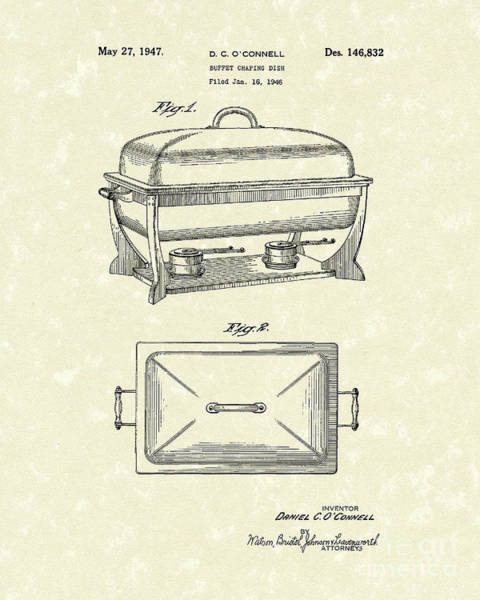 Drawing - Buffet Dish 1947 Patent Art by Prior Art Design
