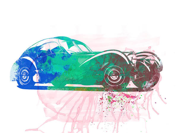 Atlantic Wall Art - Painting - Bugatti Atlantic Watercolor 1 by Naxart Studio