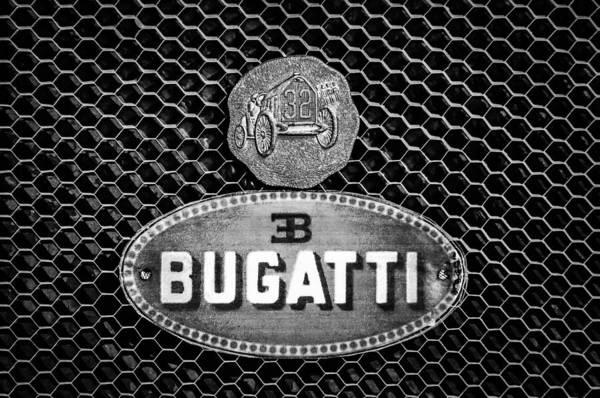 Photograph - Bugatti Emblem -0903bw by Jill Reger