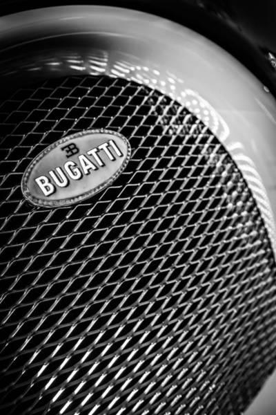 Photograph - Bugatti Veyron Legand Emblem -0520bw by Jill Reger