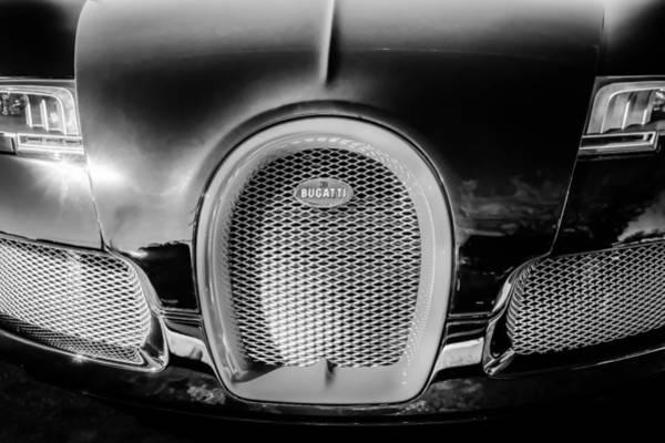 Photograph - Bugatti Veyron Legend Grille Emblem -0488bw by Jill Reger