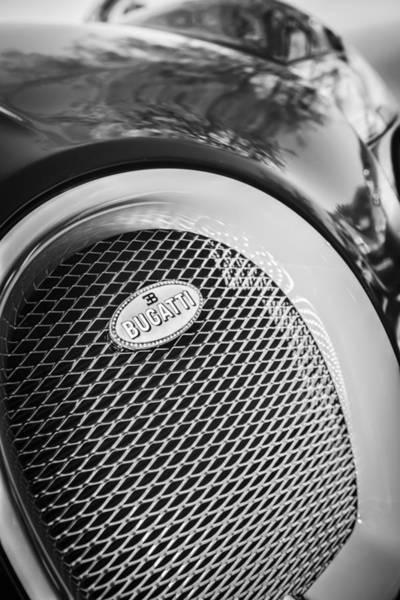 Photograph - Bugatti Veyron Legend Grille Emblem -0514bw by Jill Reger