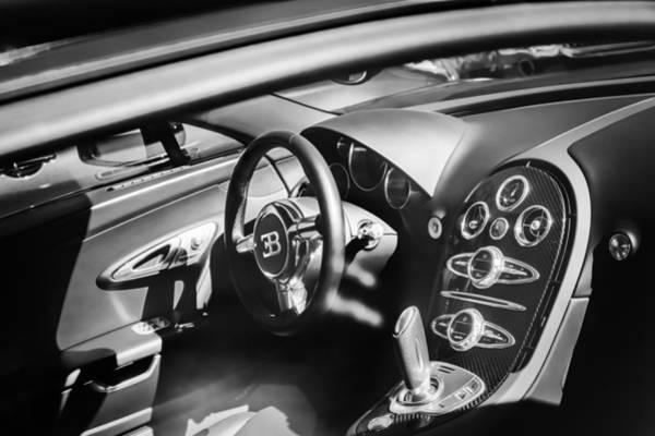 Photograph - Bugatti Veyron Legend Steering Wheel -0484bw by Jill Reger
