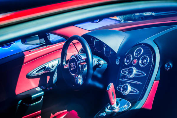 Photograph - Bugatti Veyron Legend Steering Wheel -0484c by Jill Reger