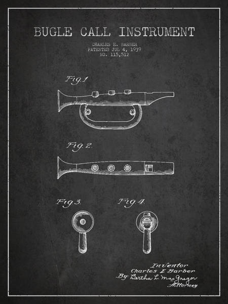 Bugling Wall Art - Digital Art - Bugle Call Instrument Patent Drawing From 1939 - Dark by Aged Pixel
