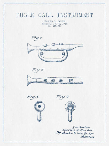 Bugling Wall Art - Digital Art - Bugle Call Instrument Patent Drawing From 1939 - Blue Ink by Aged Pixel