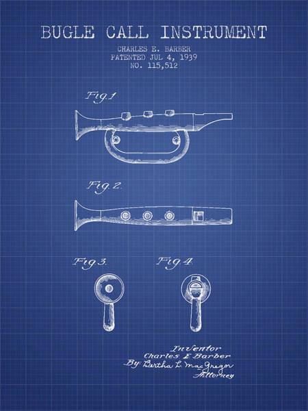 Bugling Wall Art - Digital Art - Bugle Call Instrument Patent From 1939 - Blueprint by Aged Pixel