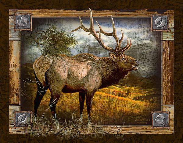 Antlers Wall Art - Painting - Bugling Elk by JQ Licensing