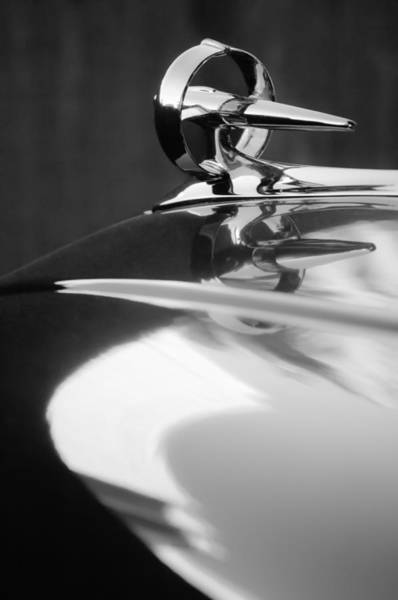Photograph - Buick Roadmaster Hood Ornament -0625bw by Jill Reger