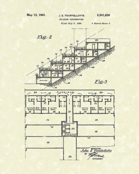 Building Drawing - Building Construction 1941 Patent Art by Prior Art Design