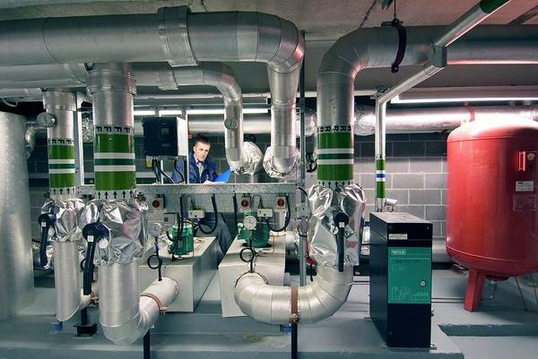 Eco-system Photograph - Building Heat Exchange System by Simon Fraser/science Photo Library