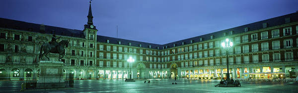 Wall Art - Photograph - Building Lit Up At Dusk, Plaza Mayor by Panoramic Images