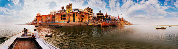 Ganges River Photograph - Buildings At Riverbank Viewed by Panoramic Images