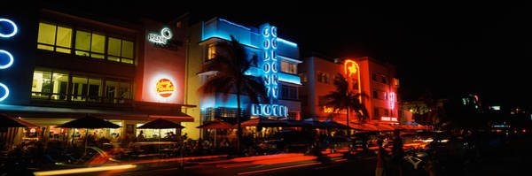 Sidewalk Cafe Photograph - Buildings At The Roadside, Ocean Drive by Panoramic Images