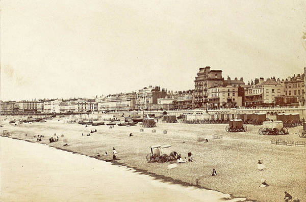 Bather Drawing - Buildings, Bathers And Bathing Carriages On Brighton Beach by Artokoloro