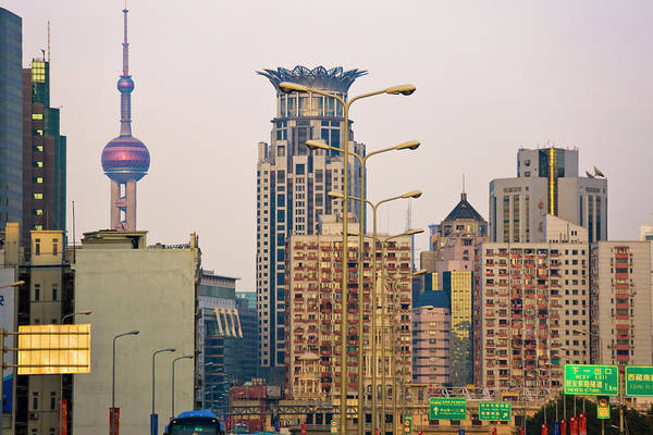 Buildings In Downtown, Shanghai, China Art Print