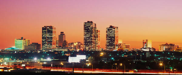 Fort Worth Photograph - Buildings Lit Up At Dusk, Fort Worth by Panoramic Images