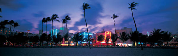 Wall Art - Photograph - Buildings Lit Up At Dusk, Miami by Panoramic Images
